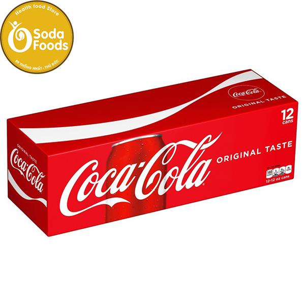 Nước Ngọt Coca Cola Coke Soda thùng 12 Lon ( đỏ trắng )